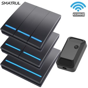 SMATRUL 푸시 무선 스마트 스위치 원격 제어 110V 220V 2000W 벽 패널 버튼 천장 램프 1/2/3 갱 T200605 빛 433MHZ 100M RF