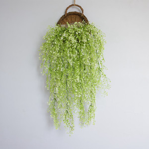 Hanging Green Plant Artificial Flower Leaves Fake Ivy Rattan for Party Wedding Wisteria Decorative Home Living Room Ornaments VT0287