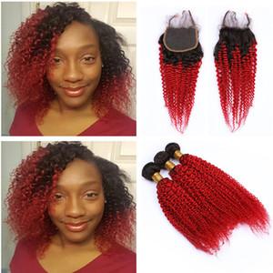 레이스 클로저로 빨간 머리를 엮으십시오 4x4 레이스 전면 마감으로 어두운 뿌리 1b 빨강 인간의 머리 뭉치 변태 곱슬 버진 인도의 머리카락