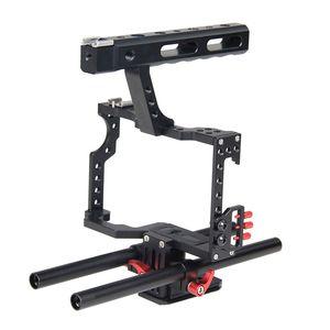 Livraison gratuite DSLR Rod Rig Film Film Making Kit Caméra Vidéo Stabilisation Poignée Grip Vidéo Cage pour Sony A7 A7r A7s II A6300 A6000