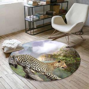 Cosa verde de la selva en leopardo de animales silvestres de impresión en 3D de Anti Slip Volver redonda Alfombras manta de área de For Living Baño