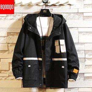 BQODQO Armée japonaise Automne militaire Manteau Mode Noir Baggy Veste Casual pour les hommes 3M Reflective Cotton Streetwear Vestes Homme T200111