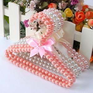 300pcs Plastic Pearl perline arco vestiti Dress Coat Rack Ganci di nozze per il capretto bambini Salva-spazio dell'organizzatore di immagazzinaggio a secco