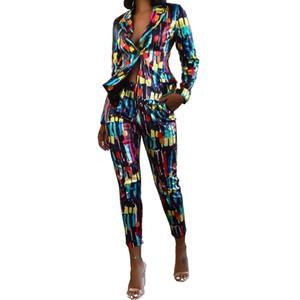 NOVO Chegamos Multicolors Printing Office Lady Calças Fatos comprimento das calças tornozelo Brasão + Moda mangas compridas Blazer Outfits partido