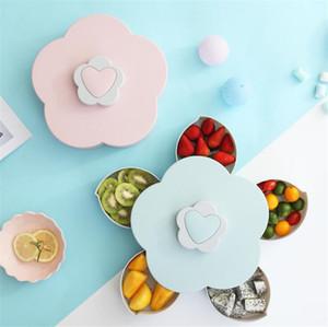 Kreative Haushalt Blütenblatt Obstteller Süßigkeit Vorratsbehälter 5 Grids Nüsse Snack Tray-Partei-Hochzeit Rotierende Lebensmittel Geschenkbox