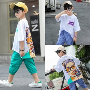 5gyH3 Boys' summer 2020 children's casual loose two-piece for medium and large children and little boy Summer clothes 2020 suit boys fashion