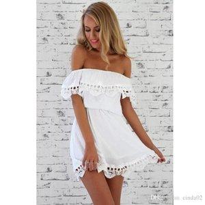 Мода женщины элегантный Винтаж сладкий кружева белое платье стильный сексуальный slash шеи повседневная тонкий пляж летний сарафан vestidos