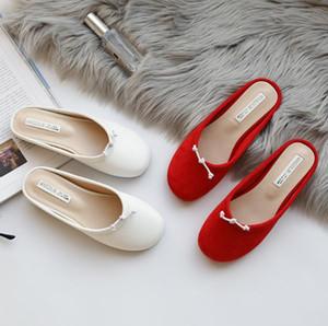 fille coeur de la marque Tide ins usure net d'été pantoufles rouges femme ballet mignon sauvage de la mode