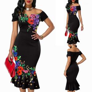Skinny Mermaid Solid Color Bodycon Dresses Summe Wedding Party Dresses Off Shoulder Slim Floral Womens Designer Dresses Short Sleeve