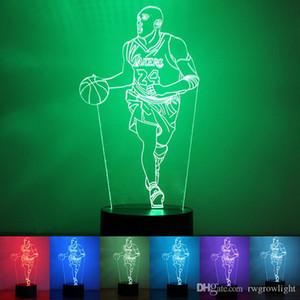 Night Light LED Lamp Basket Ball 3D Visual Ilusão Luz acrílico transparente 7 Cor Mudar Toque caçoa o presente Lava Table Lamp Noite