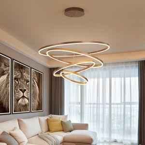 2019 Под люстрой постмодернистской роскоши света круглой атмосфера нового простое кольцо эффективное Нордик щетка висит гостиная лампу R30