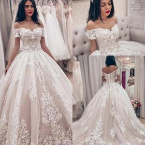Dazzling Tulle Off-the-Shoulder-Ballkleid Brautkleider 2019 mit Spitzenapplikationen plus size Brautkleider vestido de novia Brautkleider