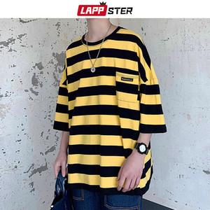 LAPPSTER Harajuku Stripe Tshirt Summer 2020 Mens Korean Style T Shirt Men Oversized Yellow Tshirts Hip Hop Casual Pocket T-shirt