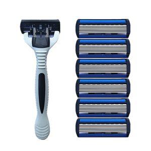 1 + 4 كومبو سلامة الرجال التقليدية الكلاسيكية 6 طبقات حلاقة الشعر شفرة الحلاقة دليل الفولاذ المقاوم للصدأ حلاقة الشعر شفرة حلاقة للرجل