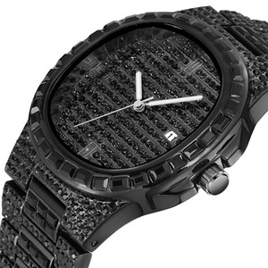 Glitzernde Herrenuhr Wasserdichte Quarz Frauen Uhren Square Full Euro Out Hip Hop Alle Diamant Herren Casual Armbanduhr 2020 Neue Mode PP