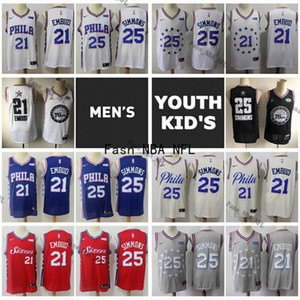 2019 Филадельфия76ersДжерси Mens молодежи Kid Joel 21 Embiid Аутентичные прошитой ВсеЗвезда Бен 25 Simmons 2020 Баскетбол Джерси
