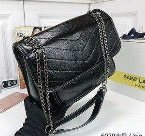 YSL Klasik moda NIKI kat kapitone siyah deri zincir çanta bayanlar metal donanım omuz çantası messenger çanta çanta gerçek atış resimleri