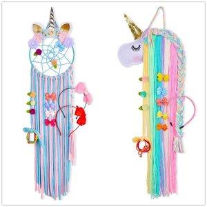 1pc / colorido 2pcs unicornio almacenamiento decoración Percha pared de colgante Headwear Organizador Strip clips de pelo bonito sujetador de almacenamiento Suministros chica Y200429