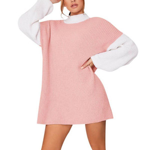 Ladies Loose Dress Autumn Winter Patchwork Color Round Neck Full Sleeve Casual Sweater Kinited Dress