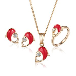 Gold-Color Dophin Children Jewelry Sets Girls Baby Jewelry Set Kids Ring Earrings Pendant Necklace 7S18K-68