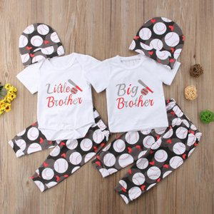 New Kids Garçons Vêtements Sets Little Brother Romper / Big Brother RomperT-shirt + football + longues Pantalons Hat bébé garçon Ensemble Outfit correspondants