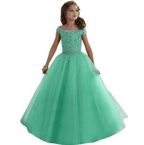 라벤더 물 멜론 러블리 소녀 미인 대회 드레스 크리스털 페르시 코르셋 뒤로 꽃 파는 아가씨 드레스 Organza Kids Formal Wear
