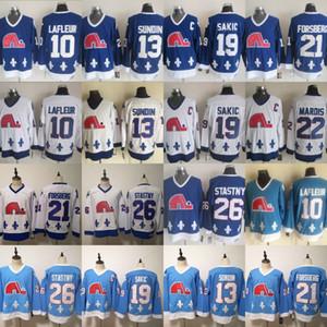 Vintage Nordiques de Québec 10 Guy Lafleur 21 Peter Forsberg 13 Mats Sundin 19 Joe Sakic 26 Peter Stastny Blanc Baby Blue Hockey sur glace Maillots