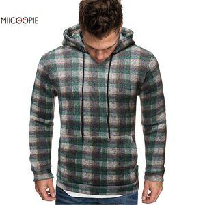 Miicoopie 2019 Hommes capuche Fashion Plaid Imprimer Sweat-shirt Mens Wear