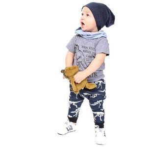 Boys Two-pieces Children Designer Cartoon Dinosaur Sets Kids Short-sleeved T-shirt + Trousers 2020 Kids New Suits Casual New Outdoorwear