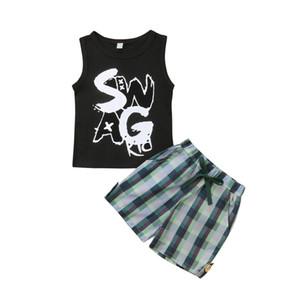 FOCUSNORM nuevo de la manera del verano del niño del bebé de la ropa de los niños Set 2 piezas Fije las cartas del chaleco de las tapas + Cheques pantalones cortos