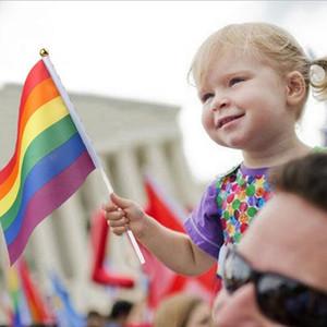 قوس قزح المثليين العلم 14x21CM الملونة مخطط اليد العلم البسيطة احتفل حزب حديقة الديكور يلوح بيده راية YSY336-L