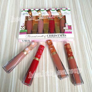 Faced Natal trata o batom liquefeito definir o cheiro doce do derretido Matte Lip gloss 4 cores de maquiagem beleza Natal batons cosméticos