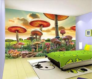 3d комната обои пользовательские фото нетканые фреска фэнтези сказка Мир гигантский гриб мультфильм пейзаж детские обои для стен 3 d