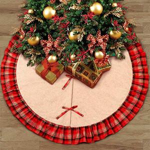 Faldas de árbol de navidad Bowknot Patchwork Home Pad Red Lattices Adorno de lino Festival Suministros Decoración ZZA1115 12pcs