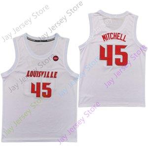 2020 Yeni NCAA Louisville Formalar 45 Mitchell College Basketball Jersey Beyaz Boyut Gençlik Yetişkin