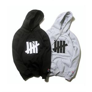Imbattuto Mens Hoodie Jacket stilista di alta qualità di stampa Sweashirt con cappuccio di Hip Hop Uomini Donne Pullover manica lunga Grigio Nero