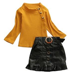 Малыш дети Baby Girls одежда с длинным рукавом пуловер свитер топы кнопка искусственная кожа оборками юбки 2шт дети девушки наряды Y200325