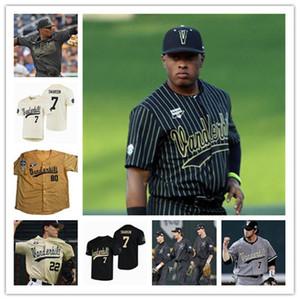 Vanderbilt Commodores Baseball CWS Branco Black Gold Jersey 7 Swanson 2 Harrison Ray 80 Rocker 13 Buehler 14 Preço