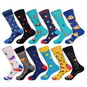 Neu Men Cotton Socks Anchor Leopard Lemon Pizza Flamingo Planet Heißluft-Ballon-Muster Herren-Socken