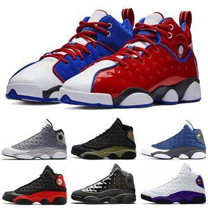 air jordan retro 13 Mens tênis de basquete 13s TRIBUNAL Cap roxo e vestido Atmosfera Grey Flint Olive Verde DMP Hiper Real Sports Sneakers