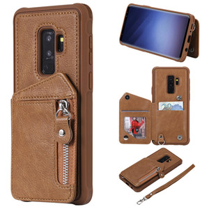 For Samsung Galaxy S9 Plus Case Zipper Humanized Card Slot Design Cover Double buckle Stand shockproof Mobile Phone Cases