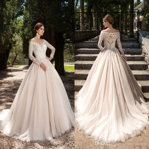 2019 Vintage Country Lace Long Sleeves Wedding Dress Bridal Gown Off the Shoulder Button Back Plus Size Sweep Train Wedding Gowns