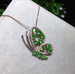 Pendentif Tourmaline naturel Tsavorite S925 argent grenat vert naturel collier pendentif tendance belle bijoux femmes papillon