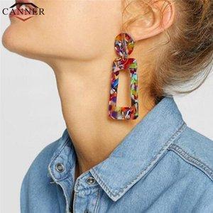 CANNER Moda Colorful Big Acrylic Earrings Geometric Dangle Earrings for Women oorbellen Drop boho Jewelry FI