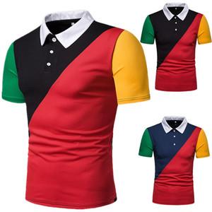 Polos T Shirts Kontrastfarbe getäfelte Polos T für Herren Tops Fashion Poloshirts Sommer Pop Kurzarm Bekleidung Sommer Fashion Neue Shirts