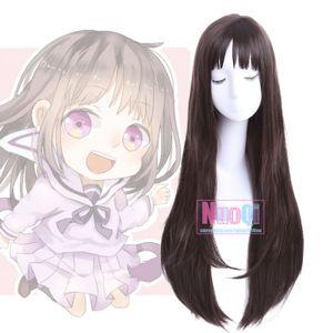 Noragami Hiyori Iki Shibuya Rin Women Dark Brown Long Straight Cosplay Full Wig