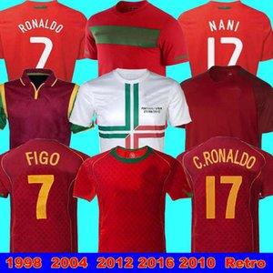 1998 2012 2016 2010 Portogallo Retro maglie di calcio a casa FIGO RONALDO nani 2002 2004 Portogallo giocare la versione JERSEY 2016 Euro Portogallo Retro