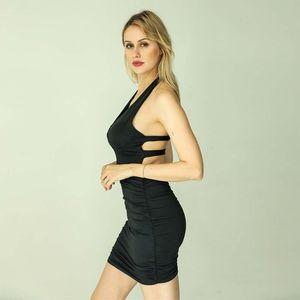 Sexy Club Summer Dress Gonna Donne Hollow fasciatura Solido Colore Sling Pieghe Hip mini vestito abiti per le donne