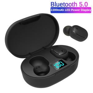 E6s TWS sem fio fone de ouvido Para redmi LED Earbuds exibição Bluetooth V5.0 Headsets com iPhone Para Mic Huawei Samsung pk A6s Earbuds