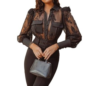 Hot kf-Sexy Transparent Lace Patchwork Black Shirt Blouse Women Stylish Long Sleeve Mesh Tops Black